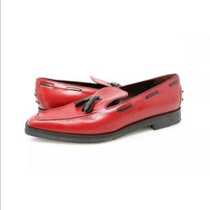 TODS Red Loafer Tassel Square Toe Driving Shoe